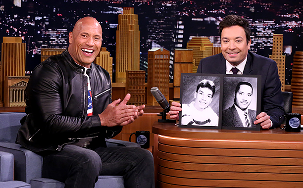 ALL CROPS: THE TONIGHT SHOW STARRING JIMMY FALLON -- Episode 0588 -- Pictured: (l-r) Actor Dwayne Johnson during an interview with host Jimmy Fallon on December 09, 2016 -- (Photo by: Andrew Lipovsky/NBC)