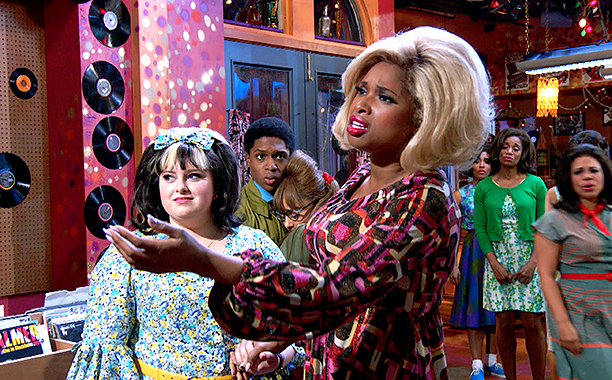 ALL CROPS: HAIRSPRAY LIVE! -- Pictured: (l-r) Maddie Baillio as Tracy Turnblad, Ephraim Sykes as Seaweed J. Stubbs, Ariana Grande as Penny Pingleton, Jennifer Hudson as Motormouth Maybelle -- (Photo by: NBC)