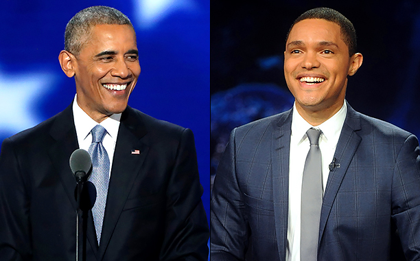"ALL CROPS: 583845090 US President Barack Obama (Photo by Alex Wong/Getty Images); 490454836 Trevor Noah hosts Comedy Central's ""The Daily Show with Trevor Noah"" (Photo by Brad Barket/Getty Images for Comedy Central)"