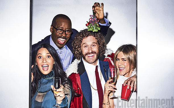 "ALL CROPS: The cast of ""Office Christmas Party"", Olivia Munn, TJ Miller, Courtney B. Vance, and Jennifer Aniston photographed exclusively for Entertainment Weekly by Eric Ray Davidson on November 4th, 2016 in Los Angeles."