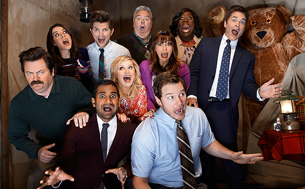 ALL CROPS: PARKS AND RECREATION -- Season: 5 -- Pictured: (l-r) Nick Offerman as Ron Swanson, Aubrey Plaza as April Ludgate, Aziz Ansari as Tom Haverford, Adam Scott as Ben Wyatt, Amy Poehler as Leslie Knope, Jim O'Heir as Jerry Gergich, Rashida Jones as