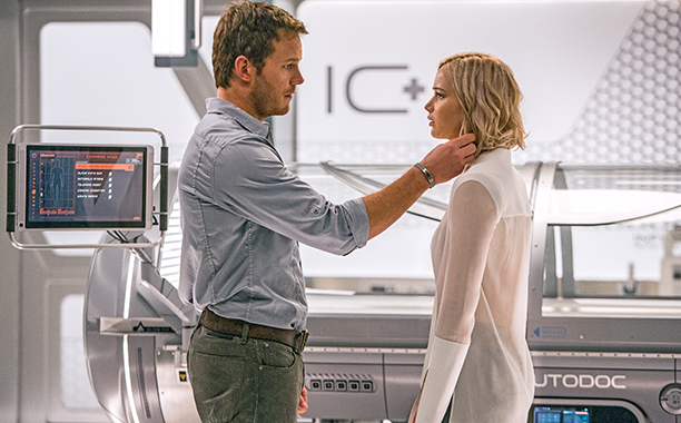 ALL CROPS: In the Infirmary, Jim (CHRIS PRATT) and Aurora (JENNIFER LAWRENCE) realize they have limited options in Columbia Pictures' PASSENGERS.
