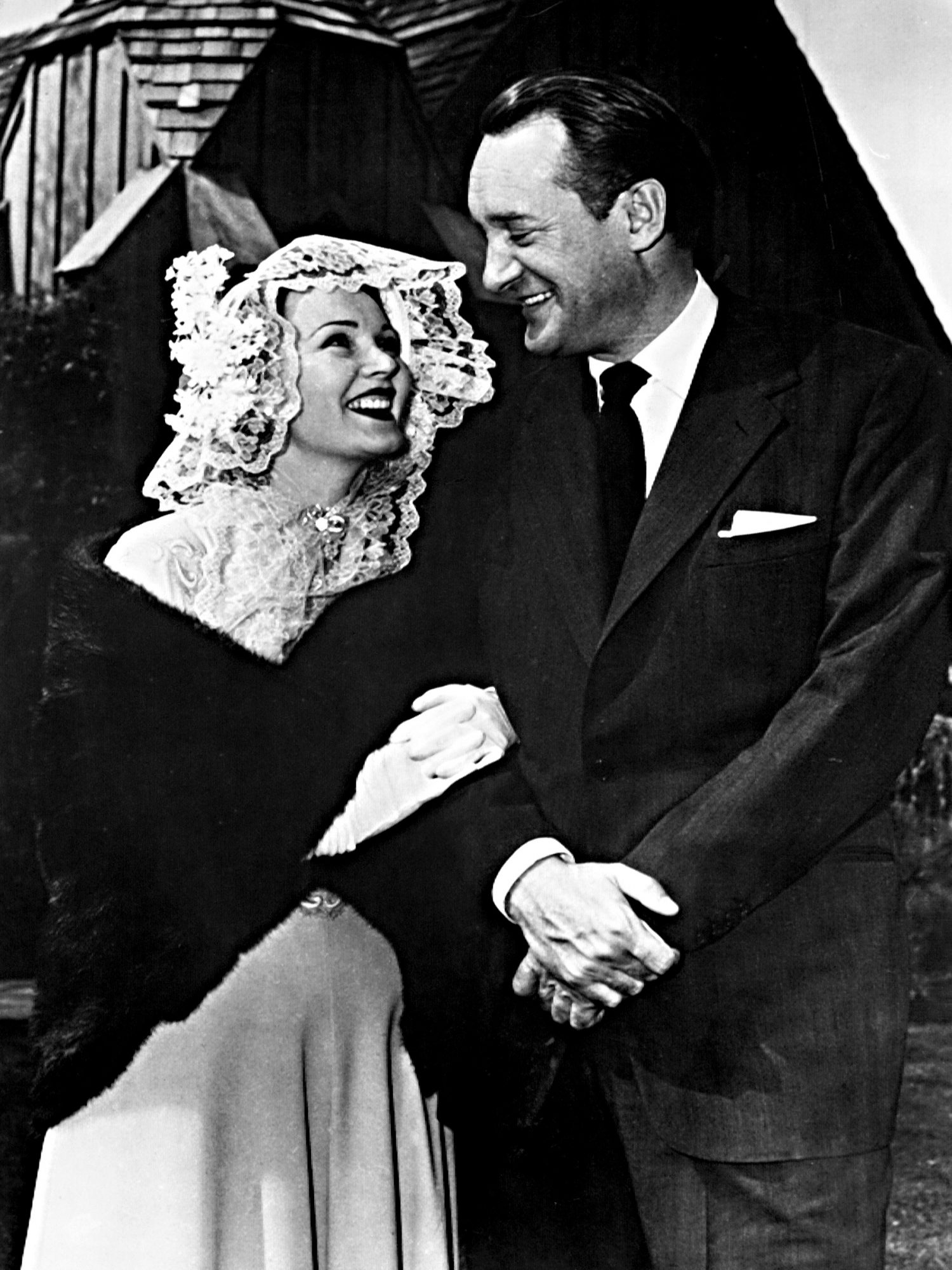 ZSA ZSA GABOR and GEORGE SANDERS, following their marriage in Las Vegas, Nevada, April 2, 1949.