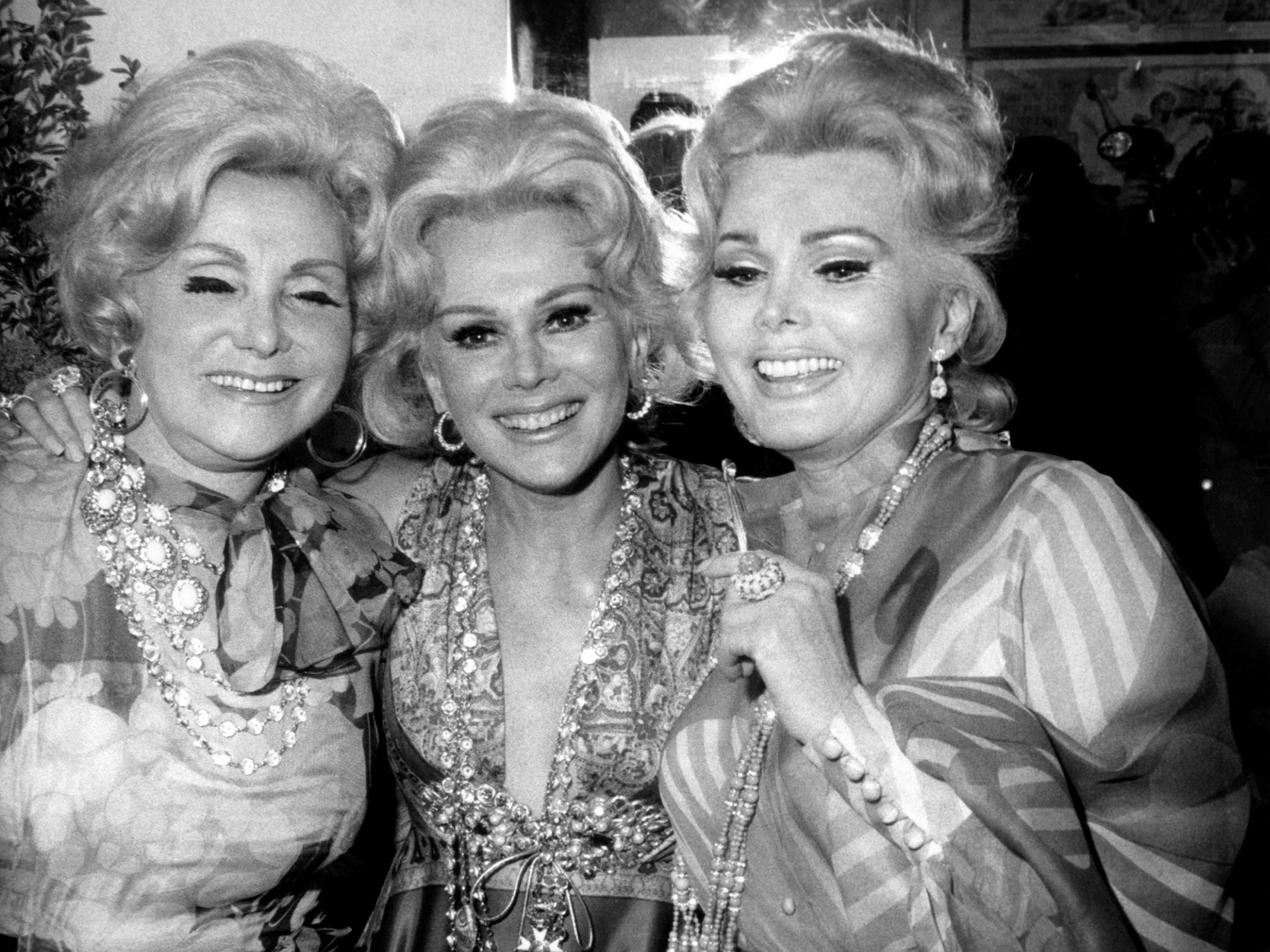 Zsa Zsa Gabor (r) with mother, Jolie (l), sister, Eva (center), backstage at the Morosco Theater for