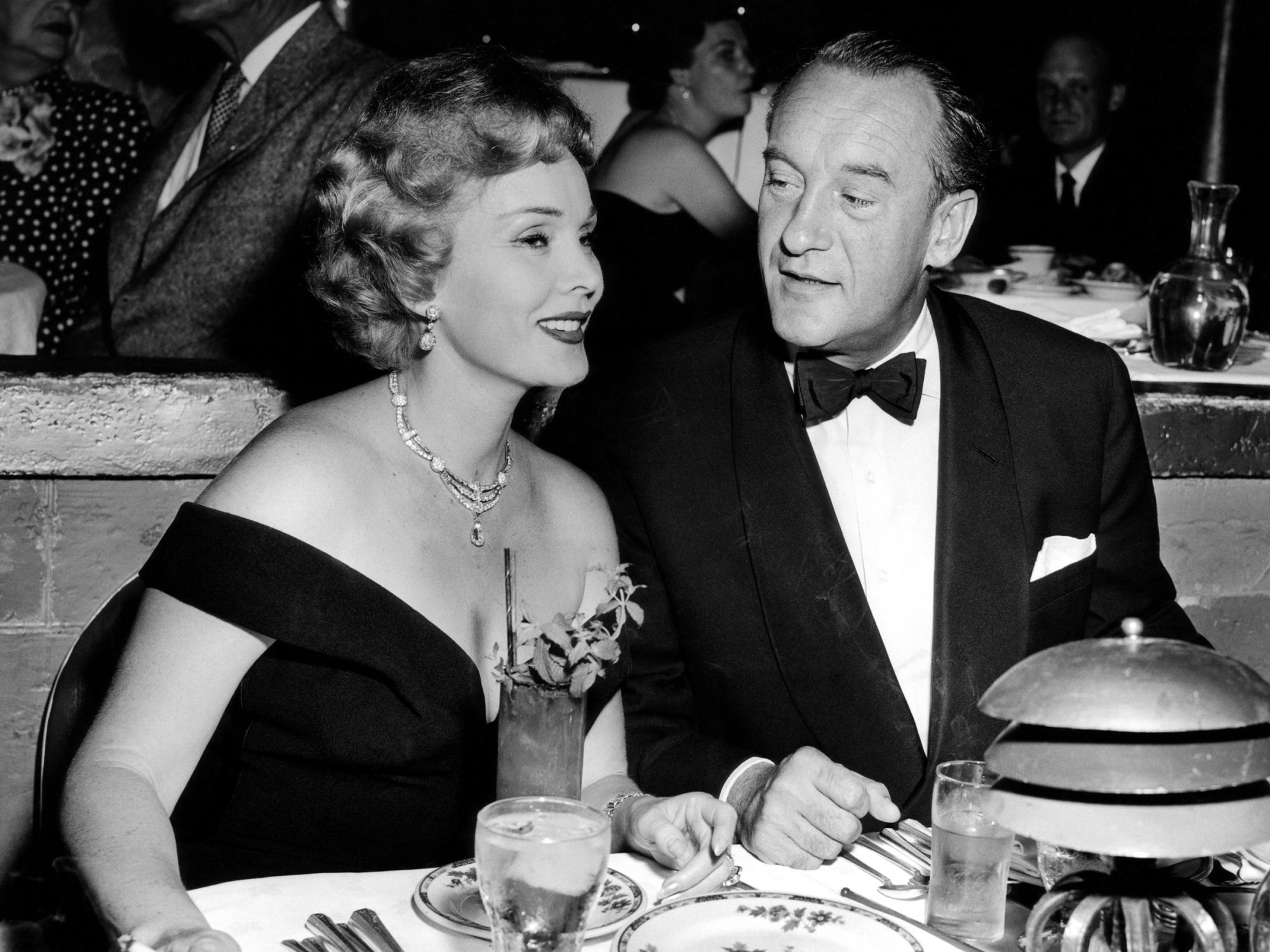 Zsa Zsa Gabor with husband, George Sanders, 1954