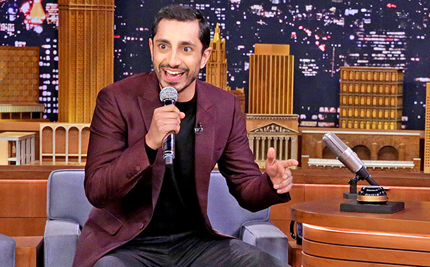 "ALL CROPS: THE TONIGHT SHOW STARRING JIMMY FALLON -- Episode 0586 -- Pictured: (l-r) Actor Riz Ahmed and host Jimmy Fallon during the ""Wheel of Freestyle"" on December 07, 2016 -- (Photo by: Andrew Lipovsky/NBC"