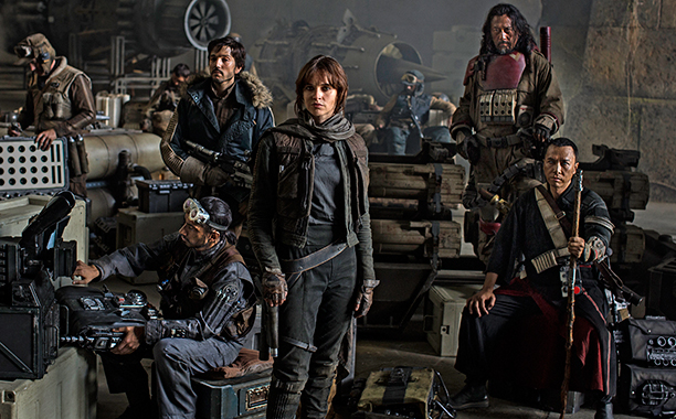 ALL CROPS: Star Wars: Rogue One..L to R: Actors Riz Ahmed, Diego Luna, Felicity Jones, Jiang Wen and Donnie Yen..Photo Credit: Jonathan Olley..?Lucasfilm 2016