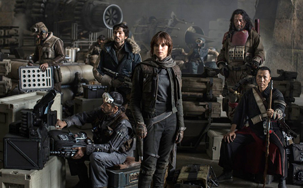 Clone of GALLERY: Meet the Rogues: ALL CROPS: Star Wars: Rogue One (2016) L to R: Actors Riz Ahmed, Diego Luna, Felicity Jones, Jiang Wen and Donnie Ye