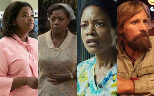 ALL CROPS: Octavia Spencer in Hidden Figures / Viola Davis in Fences / Naomie Harris in Moonlight / Viggo Mortensen in Captain Fantastic split