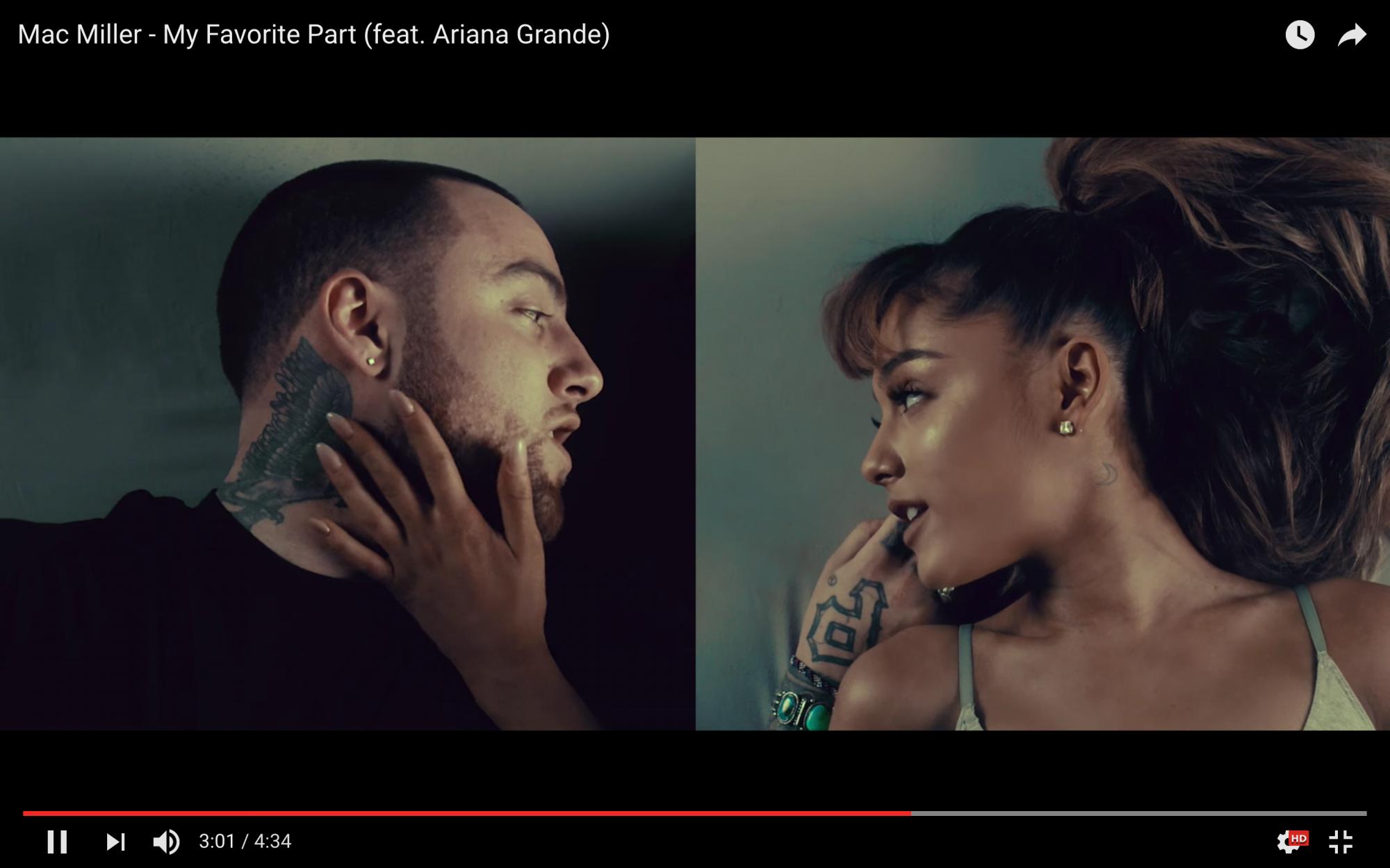 'My Favorite Part' video screengrab with Mac Miller, Ariana Grande (YouTube)