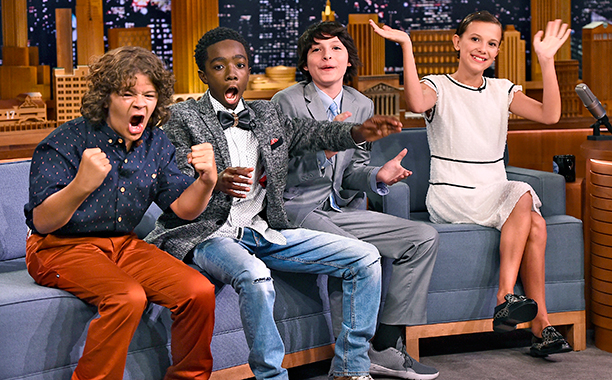 "GALLERY: Finn Wolfhard, Millie Bobby Brown, Gaten Matarazzo and Caleb McLaughlin Visit ""The Tonight Show Starring Jimmy Fallon"" at Rockefeller Center on August 31, 2016 in New York City."