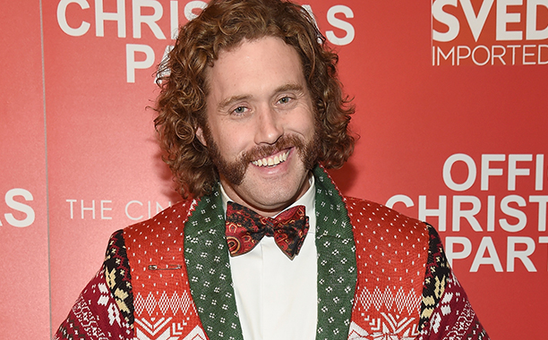 ALL CROPS: 627910886 T. J. Miller attends the Paramount Pictures with The Cinema Society & Svedka host a screening of 'Office Christmas Party' at Landmark Sunshine Cinema on December 5, 2016 in New York City. (Photo by Kevin Mazur/WireImage)