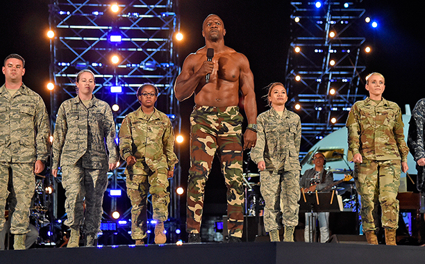 "ALL CROPS: TERRY CREWS onstage during ""Spike's Rock the Troops"" event held at Joint Base Pearl Harbor - Hickam on October 22, 2016 in Honolulu, Hawaii. ""Spike's Rock the Troops"" will premiere on December 13 at 9 PM, ET/PT on Spike."