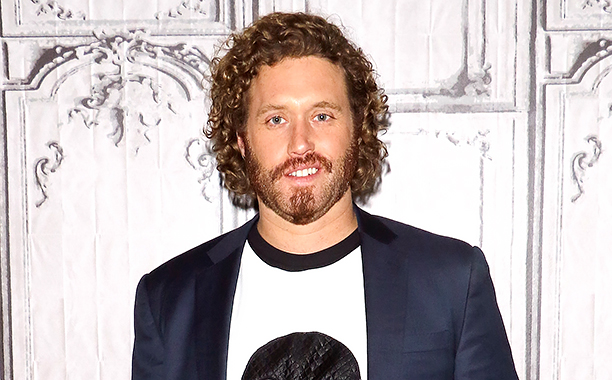 """ALL CROPS: 509206204 Actor TJ Miller attends the AOL Build Speaker Series - Ryan Reynolds, TJ Miller, Ed Skrein and Morena Baccarin, """"Deadpool"""" at AOL Studios In New York on February 9, 2016 in New York City. (Photo by Jim Spellman/WireImage)"""