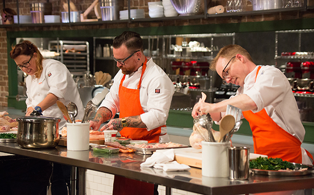 ALL CROPS: TOP CHEF -- Episode 1401 -- Pictured: (l-r) Annie Pettry, BJ Smith, Jim Smith -- (Photo by: Paul Cheney/Bravo)