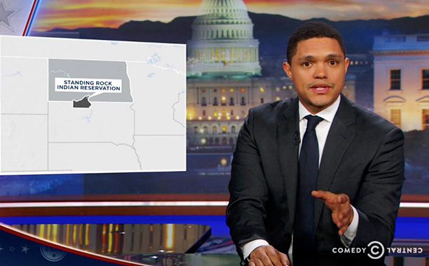 "ALL CROPS: Daily Show Trevor reveals the initial route of the Dakota Access Pipeline, President-elect Trump names Michael Flynn national security advisor, and Chelsea Handler discusses ""Chelsea."" screengrab"
