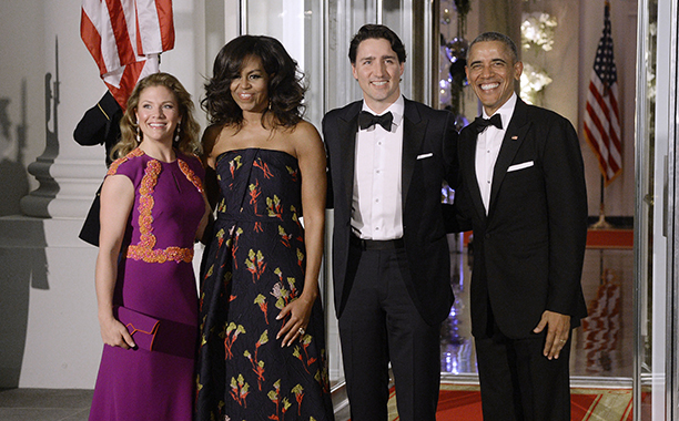 ALL CROPS: 514800272 (L-R) First Lady Sophie Trudeau of Canada, First Lady Michelle Obama, Prime Minister Justin Trudeau of Canada and President Barack Obama pose at the North Portico of the White House on March 10, 2016 in Washington, D.C.