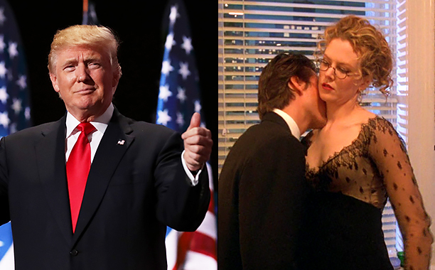 ALL CROPS: 578546876 Donald Trump (Photo by Chip Somodevilla/Getty Images); Eyes Wide Shut (1999) (screen grab) CR: Warner Bros.