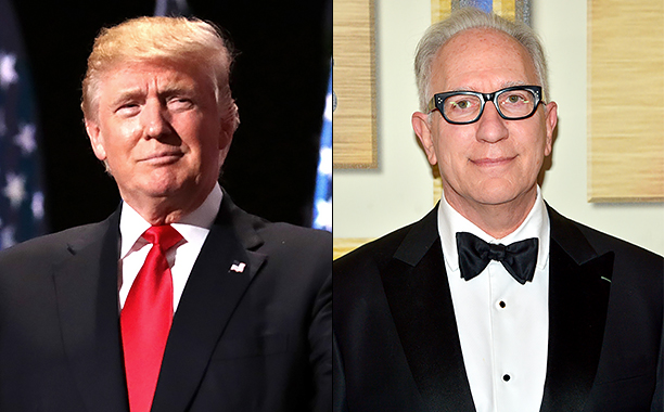 ALL CROPS: 578546876 Donald Trump (Photo by Chip Somodevilla/Getty Images); 510106262 Howard A. Rodman (Photo by Charley Gallay/Getty Images for Writers Guild of America, West)