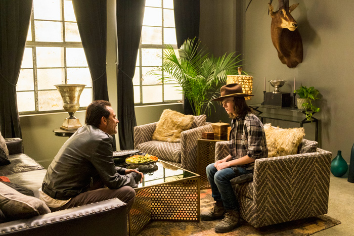 All Crops: Embargoed for Dalton 12/4 Jeffrey Dean Morgan as Negan, Chandler Riggs as Carl Grimes - The Walking Dead _ Season 7, Episode 7 - Photo Credit: Gene Page/AMC