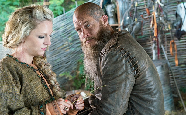 "RECAP: 11/30/16: ALL CROPS: Vikings Ragnar (Travis Fimmel) and Helga (Maude Hirst) from HISTORY's ""Vikings"" Photo by Jonathan Hession Copyright 2016"