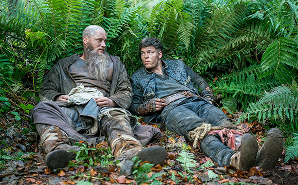 """RECAP: 12/14/16 All Crops: Vikings Ragnar Lothbrok (Travis Fimmel) and Ivar the Boneless (Alex Hogh) from HISTORY's """"Vikings"""". 'Two Journeys' premieres December 14. Photo by Jonathan Hession Copyright 2016"""