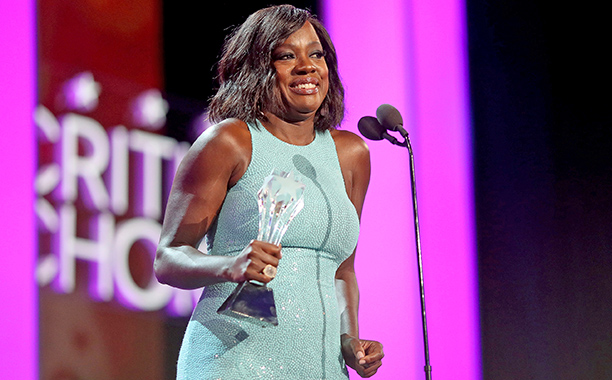 ALL CROPS: 629207740 Viola Davis accepts the #SeeHer award onstage during The 22nd Annual Critics' Choice Awards at Barker Hangar on December 11, 2016 in Santa Monica, California. (Photo by Christopher Polk/Getty Images