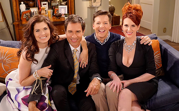 """ALL CROPS: Will and Grace """"Vote Honey"""" Sepcial ten year reunion episode about the 2016 Presidential Election Septeber 26, 2016 Debra Messing, Eric McCormack, Sean Hayes, and Megan Mullally on set CR: Debra Messing Instagram"""