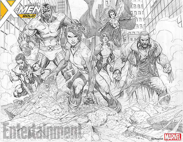 NO CROPS: *Exclusive* X-MEN Gold Full Page Spread CR: Marvel