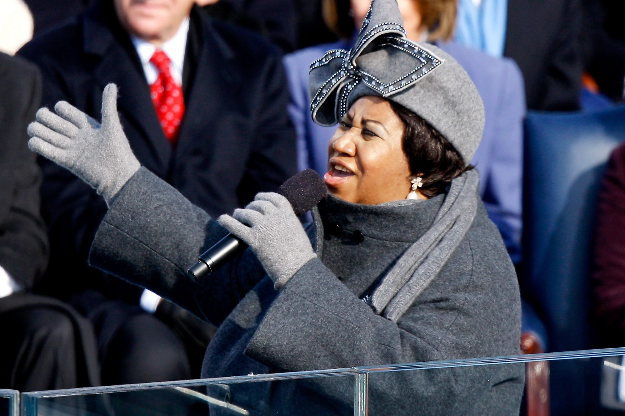 Singer Aretha Franklin performs during the inauguration cere
