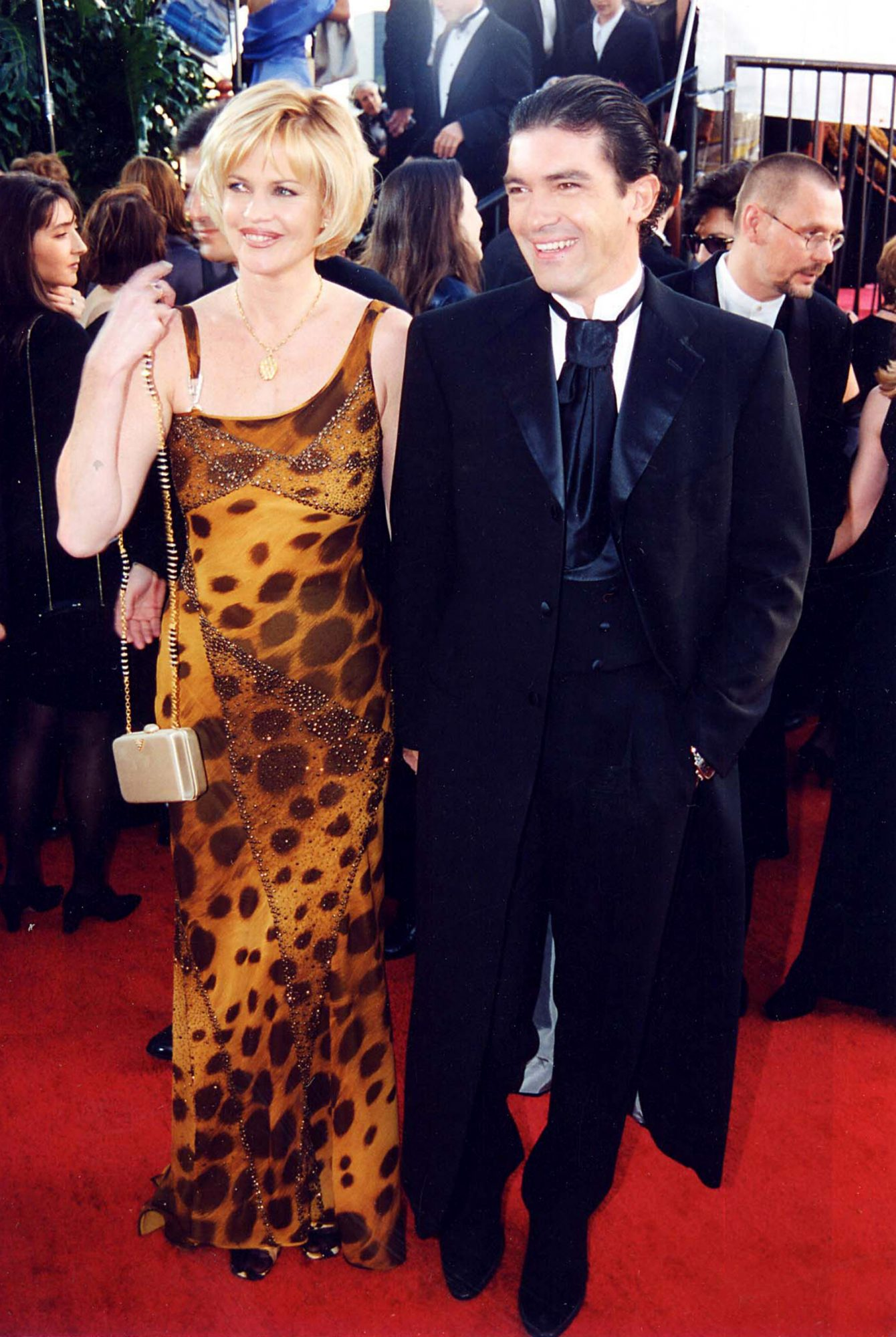 Melanie Griffith and Best Actor in a Musical or Comedy Nominee Antonio Banderas (Evita)