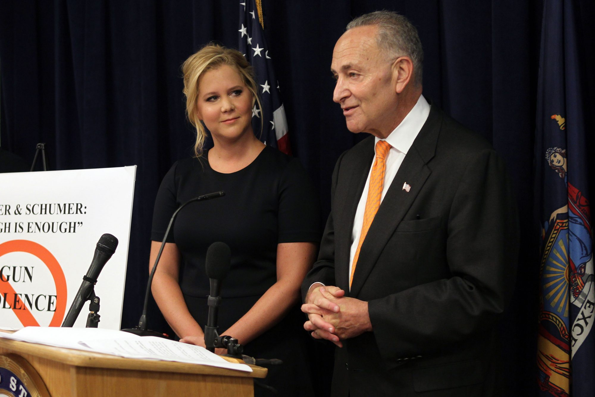 Senator Chuck Schumer And Amy Schumer Joint Press Conference Announcing Plan To Crackdown On Mass Shootings And Gun Violence