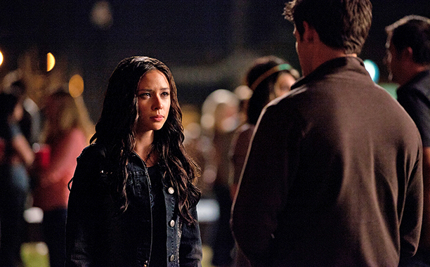 "ALL CROPS: ""Ghost World""--LtoR: Malese Jow as Anna and Steven R. McQueen as Jeremy (back to camera) on THE VAMPIRE DIARIES on The CW. Photo:"