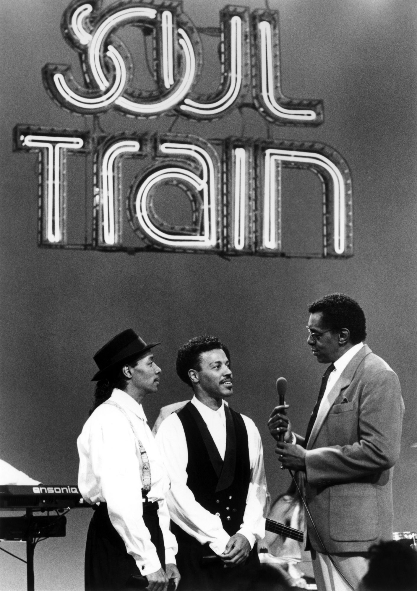 SOUL TRAIN, from left: musical group CALLOWAY:  Cino-vincent Calloway, Reggie Calloway, Don Corneliu