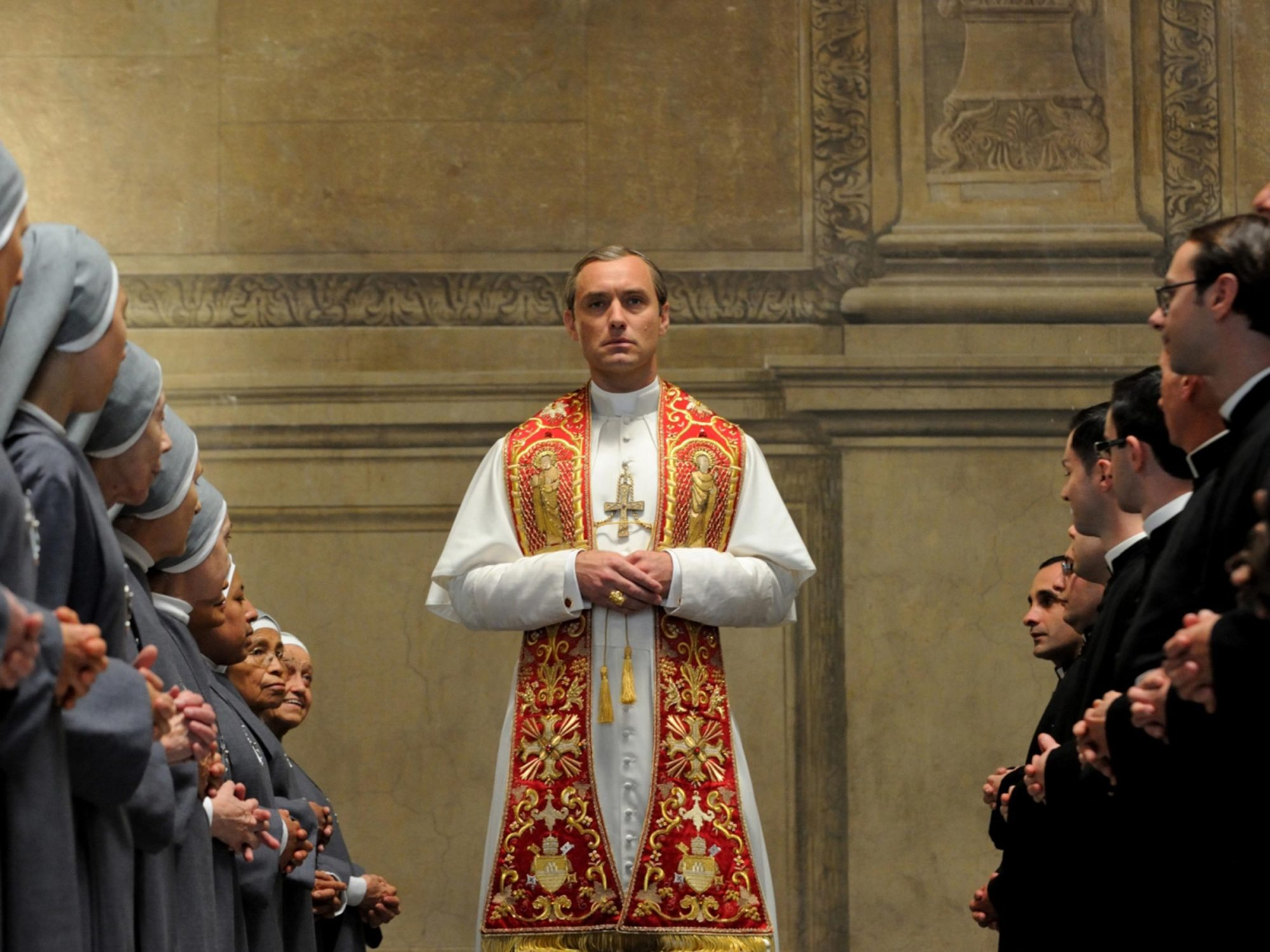 Pope Pius XIII, a.k.a. Lenny Belardo (Jude Law), on The Young Pope