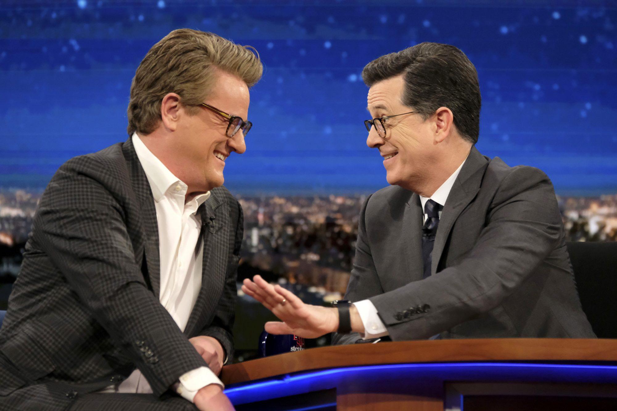 Stephen Colbert with Joe Scarborough