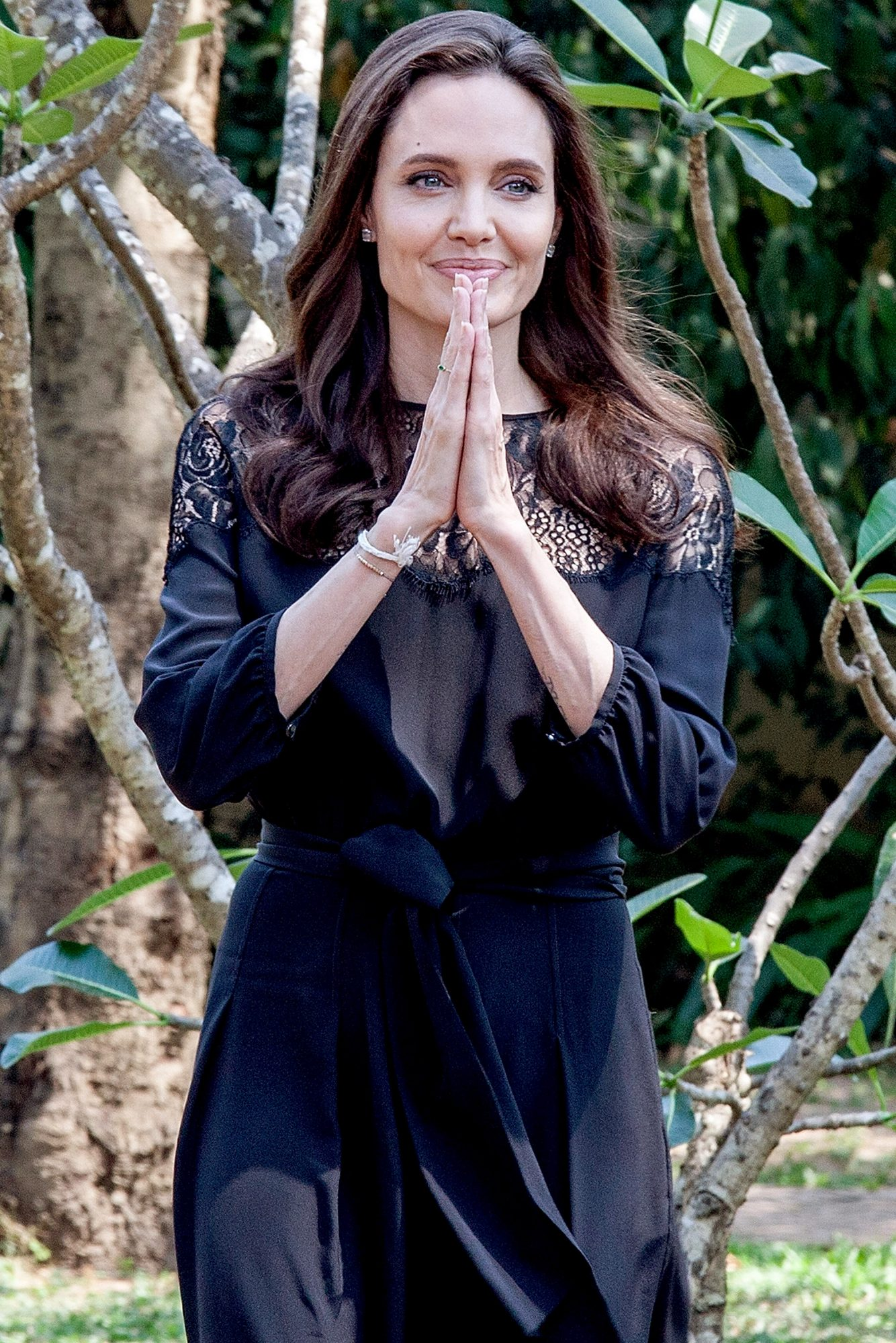 """SIEM REAP, CAMBODIA - FEBRUARY 18: Angelina Jolie arrives at a press conference ahead of the premiere of her new film """"First They Killed My Father"""" set up at the Raffles Grand Hotel D'Angkor on February 18, 2017 in Siem Reap, Cambodia. Angelina Jolie is in Siem Reap for the world premiere of her new movie, """"First They Killed my Father,"""" a Netflix-produced adaption of the autobiography by the same name penned by Loung Ung, who lived through the Khmer Rouge regime as a young child. The film will be screened Saturday night in the Angkor Wat temple complex, and released later this year on Netflix. (Photo by Omar Havana/Getty Images)"""
