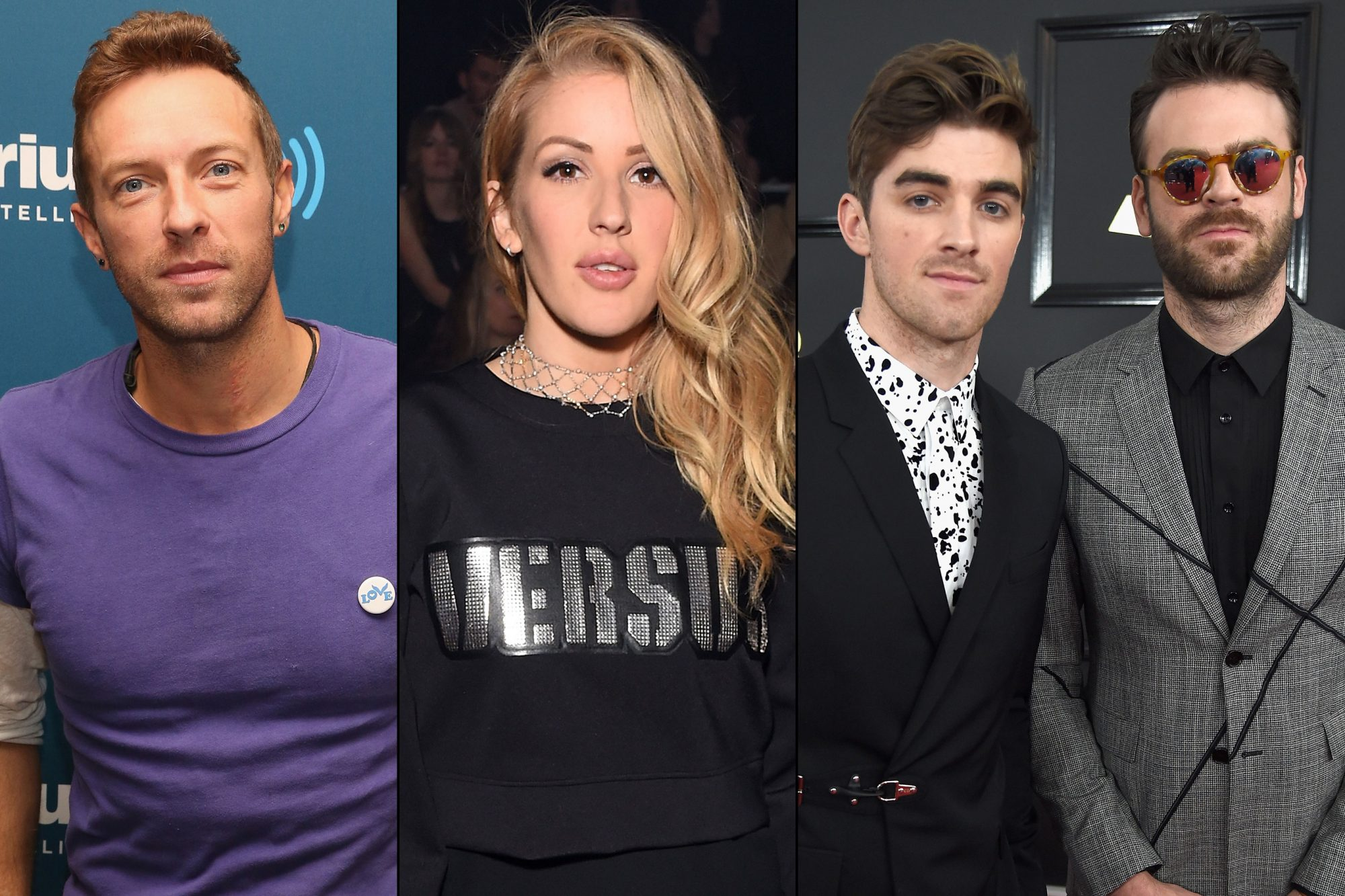 Coldplay, Ellie Goulding and the Chainsmokers