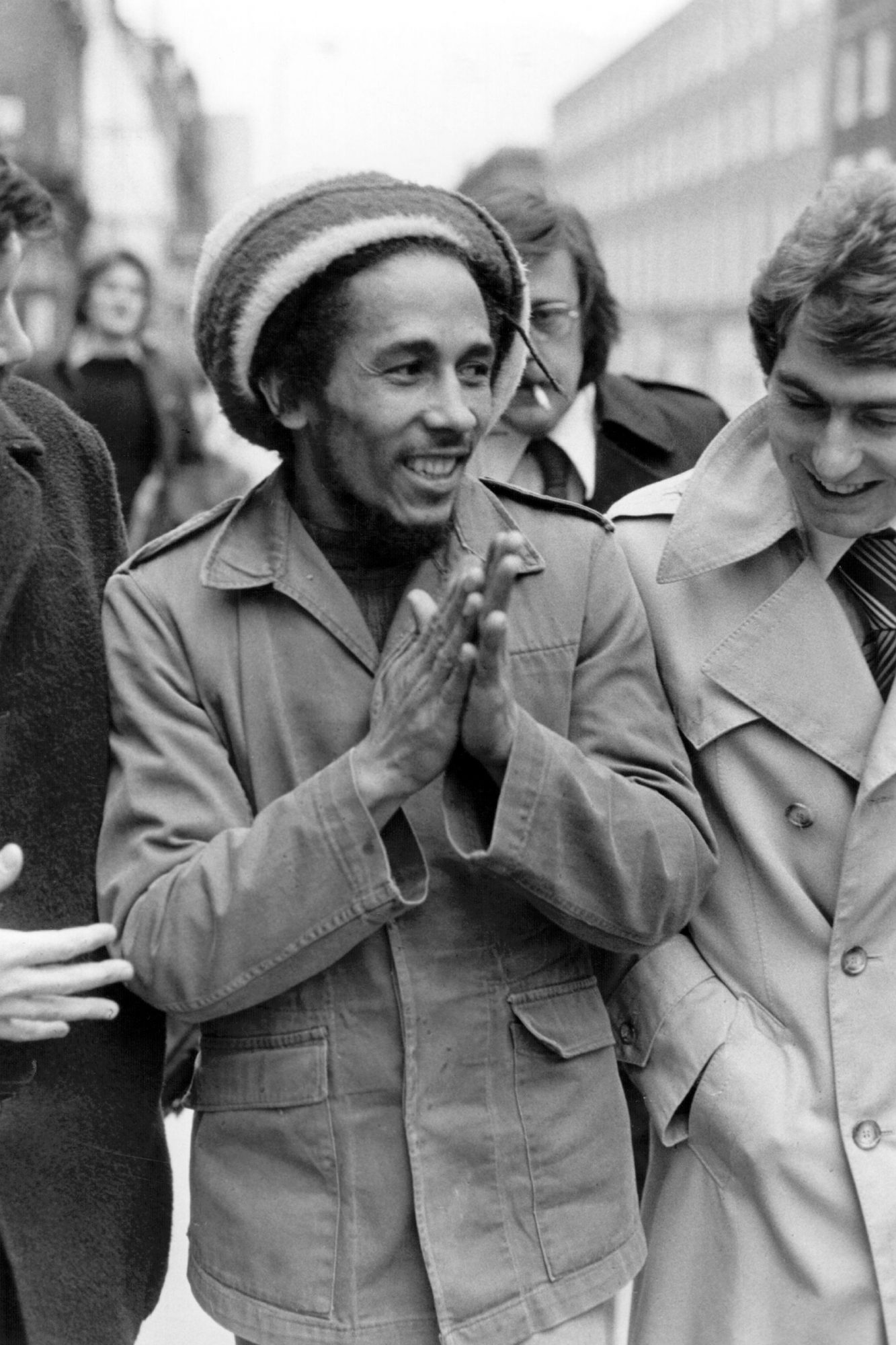 Bob Marley Outside the Marylebone Magistrates Court in London on April 6, 1977