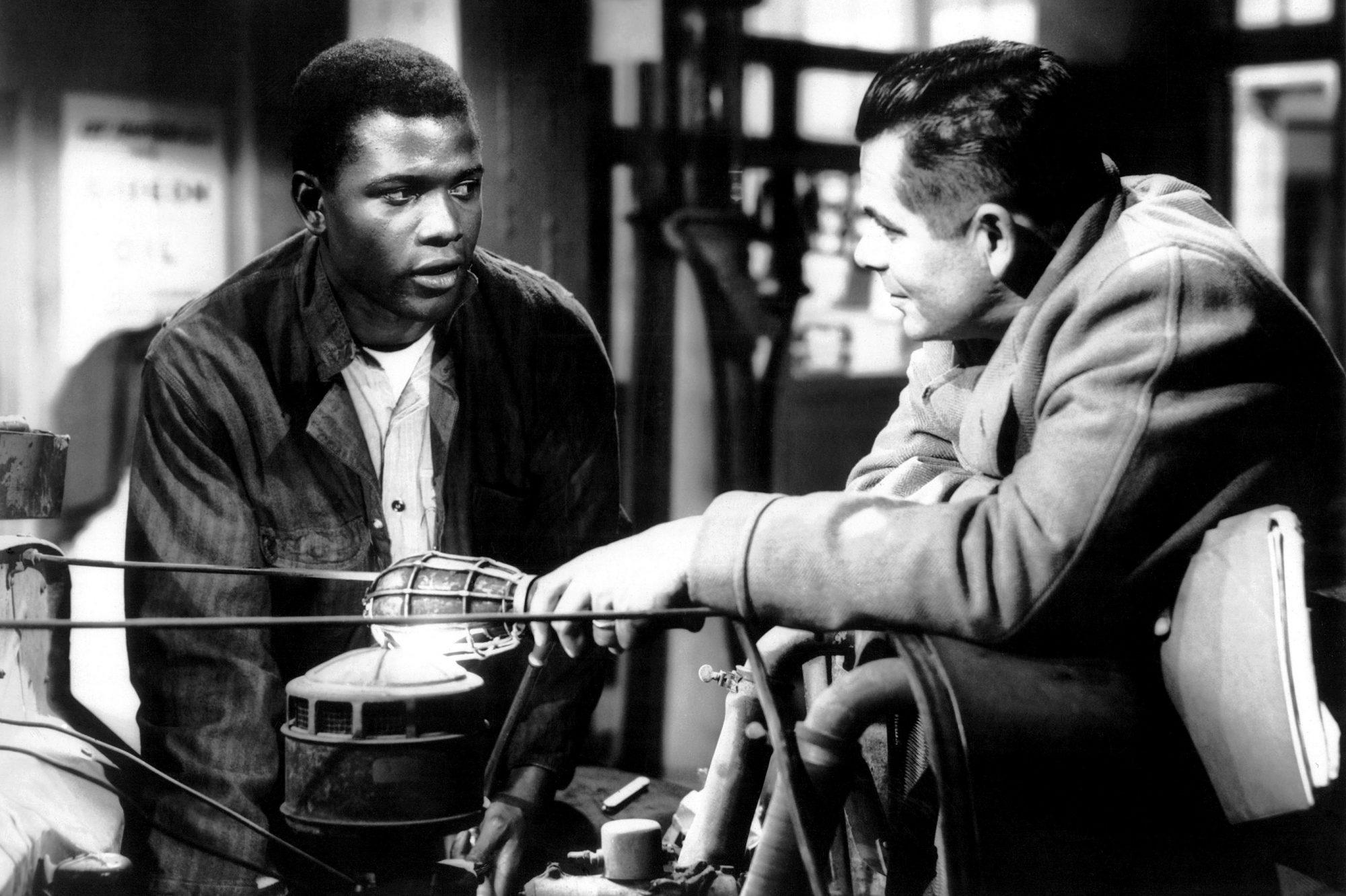 THE BLACKBOARD JUNGLE, Sidney Poitier, Glenn Ford, 1955