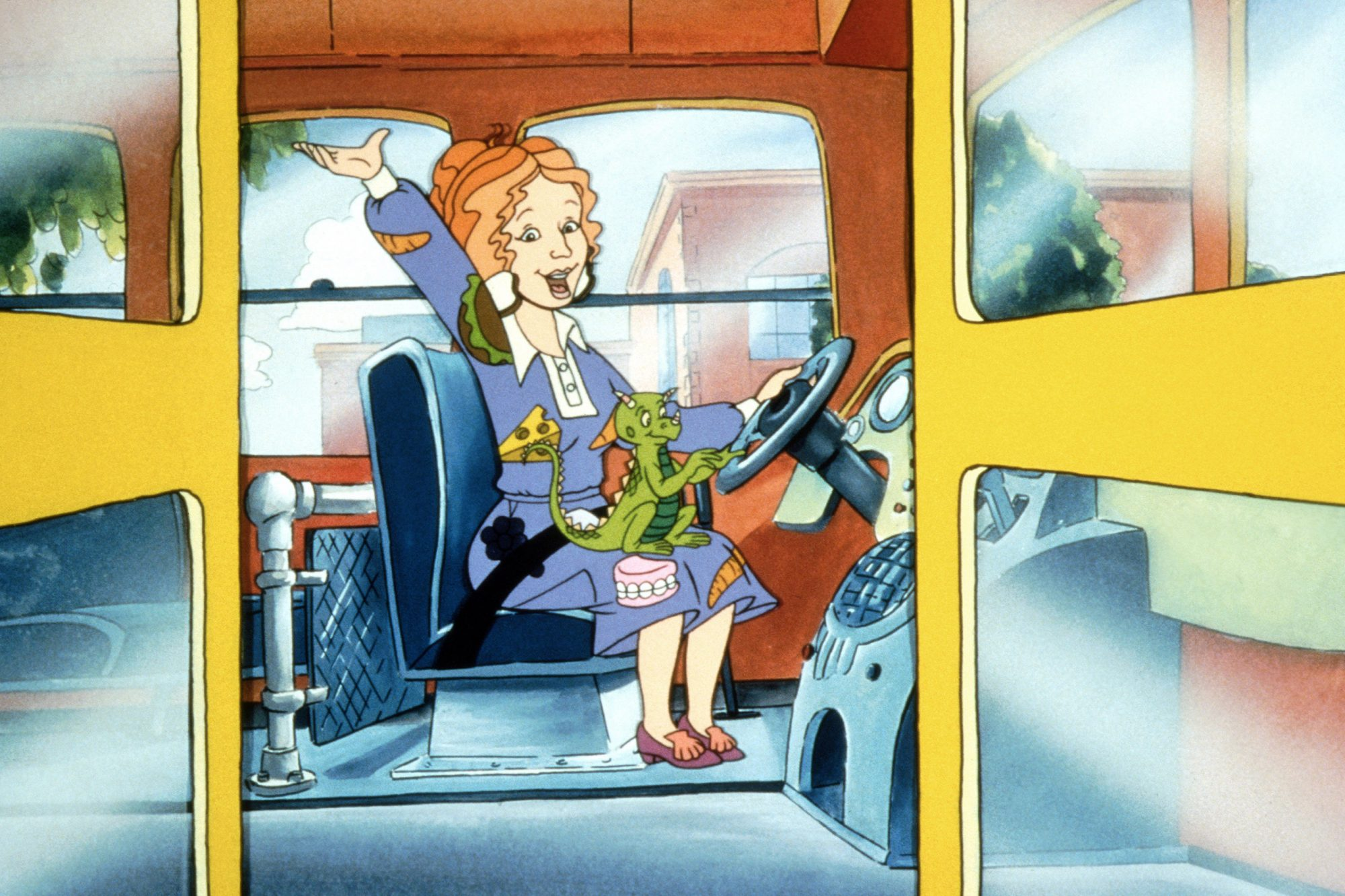 THE MAGIC SCHOOL BUS, (from left): Ms. Valerie Frizzle with Liz the chameleon, 1994-97. photo: ©