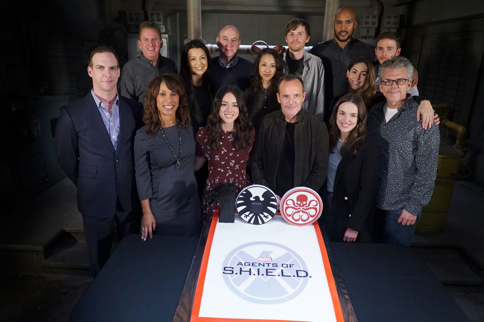 PATRICK MORAN (PRESIDENT, ABC STUDIOS), GARRY A. BROWN (CO-EXECUTIVE PRODUCER), CHANNING DUNGEY (PRESIDENT, ABC ENTERTAINMENT), MING-NA WEN, CHLOE BENNET, JEPH LOEB (EXECUTIVE PRODUCER), MAURISSA TANCHAROEN (EXECUTIVE PRODUCER), CLARK GREGG, JED WHEDON (E