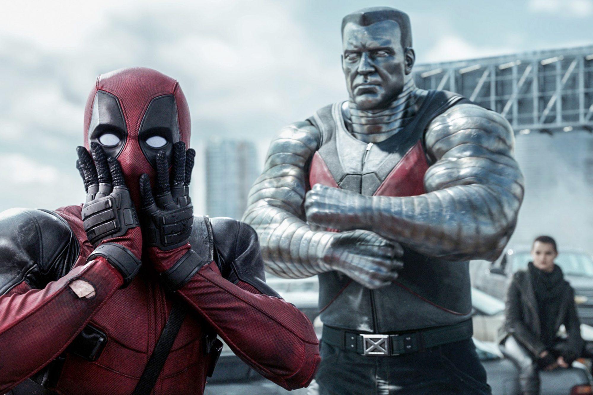 DEADPOOL, from left: Ryan Reynolds, as Deadpool, Colossus (voice: Stefan Kapicic), Brianna