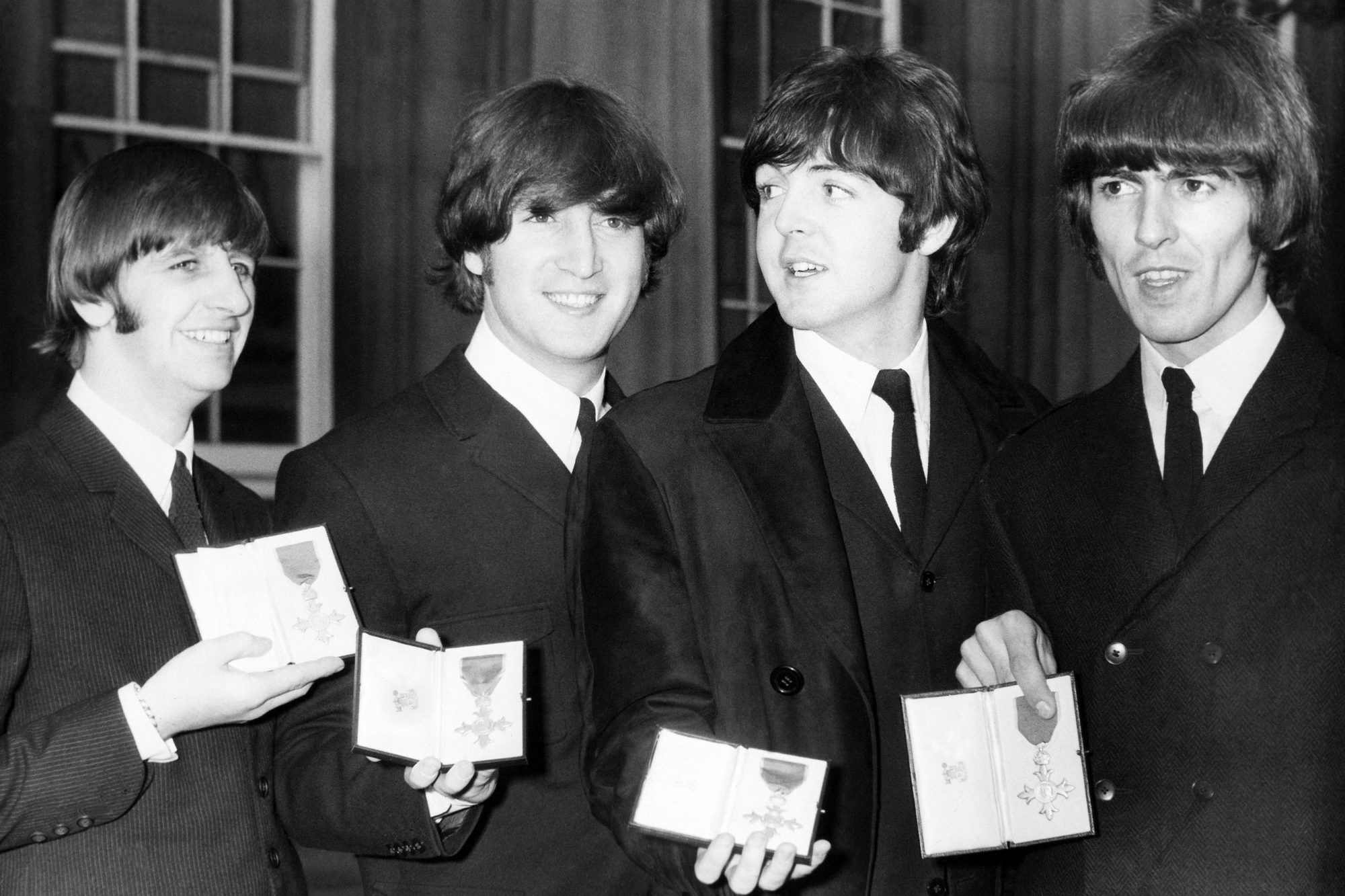 Portrait Of The Beatles With Their Mbe At London In England On October 26Th 1965