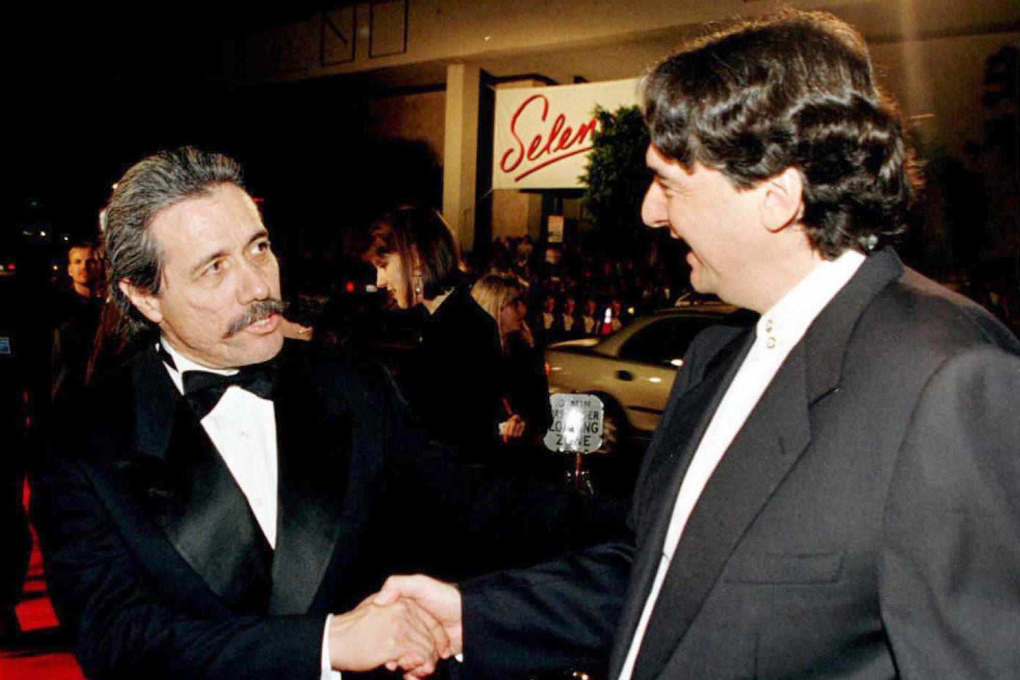 Actor Edward James Olmos (L) greets director Grego