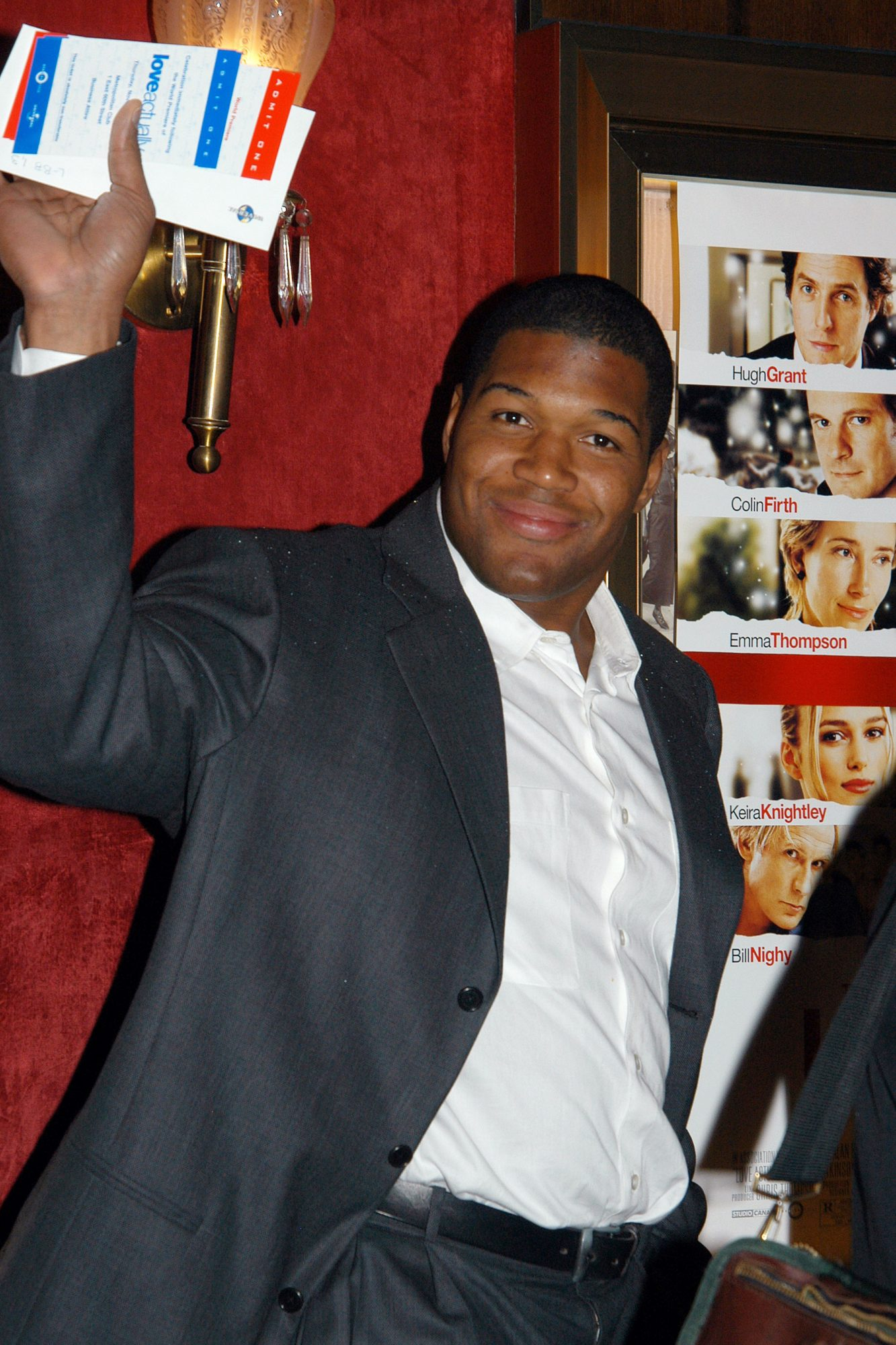 New York Giants' Michael Strahan is on hand at the Ziegfeld