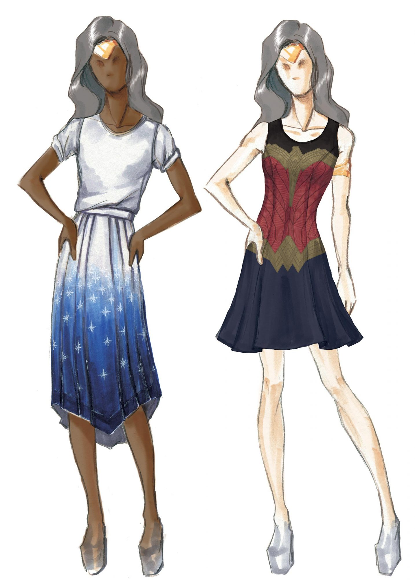 Wonder Woman concept illustrations from Hot Topic