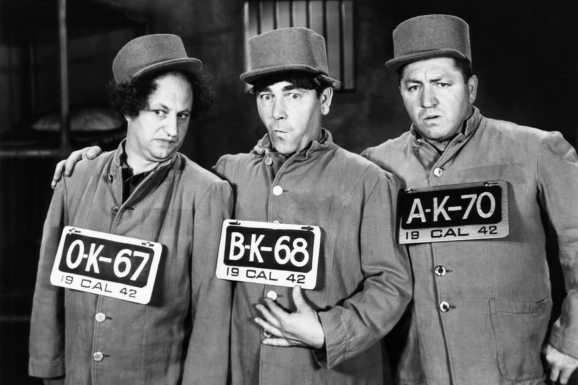IN THE SWEET PIE AND PIE, from left, Larry Fine, Moe Howard, Curly Howard, 1941
