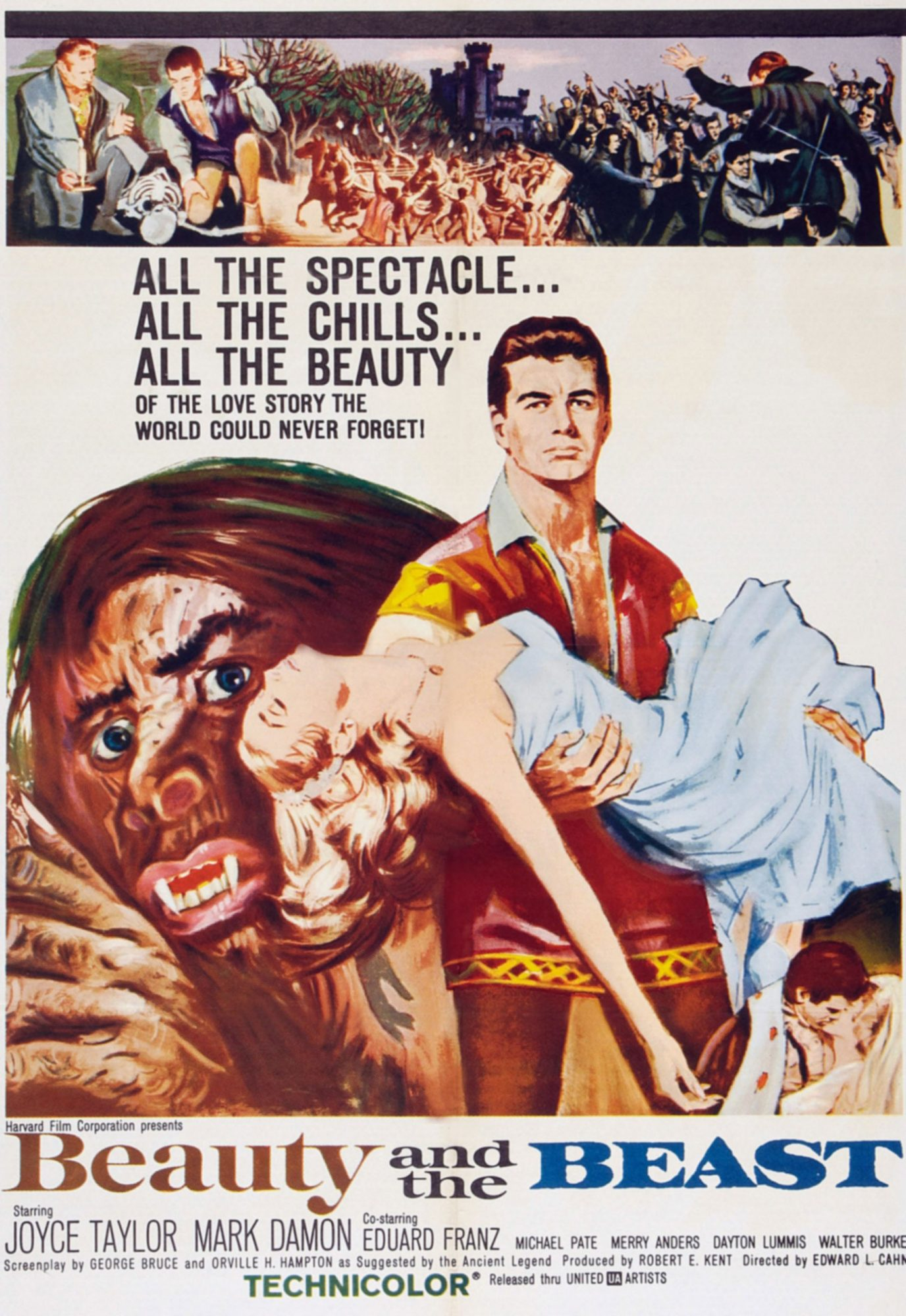 BEAUTY AND THE BEAST, Mark Damon on poster art, 1962