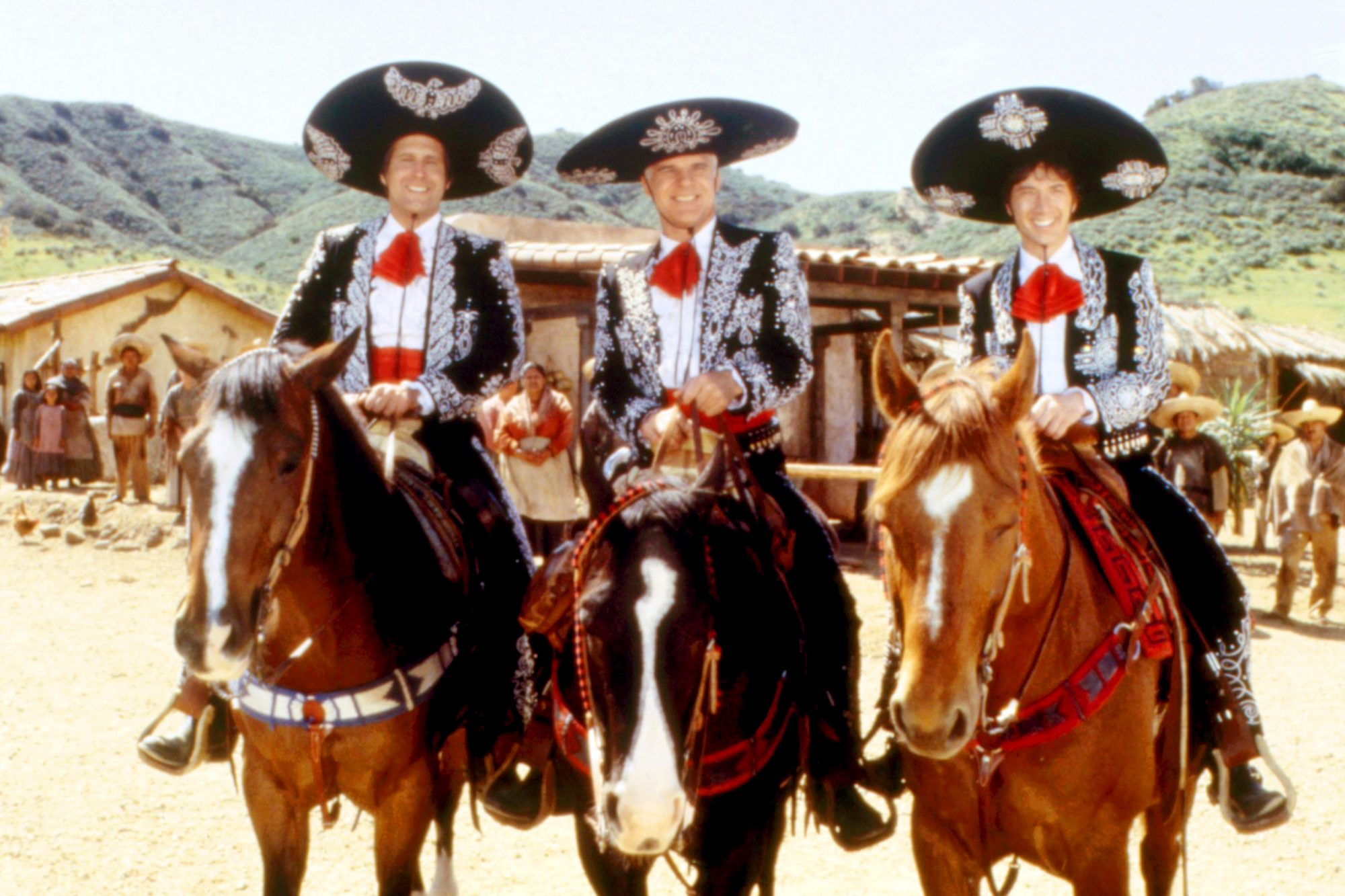 THREE AMIGOS, Chevy Chase, Steve Martin, Martin Short, 1986. (c)Orion Pictures/courtesy Everett Coll